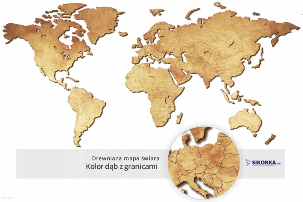 prezent na komunię dla chłopca drewniana mapa świata